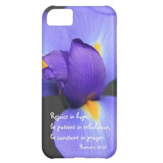 Purple Iris Bible Verse about Hope Romans 12 12 iPhone 5C Covers