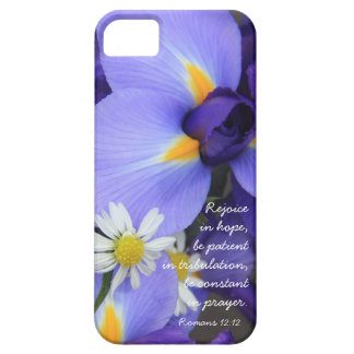 Purple Iris Bible Verse about Hope Romans 12 12 iPhone 5 Cover