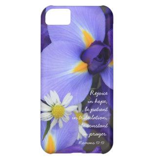Purple Iris Bible Verse about Hope Romans 12 12 Case For iPhone 5C
