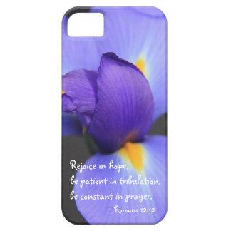 Purple Iris Bible Verse about Hope Romans 12 12 iPhone 5 Case