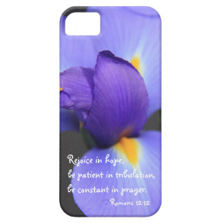 Purple Iris, Bible Verse about Hope, Romans 12:12 iPhone 5 Cover