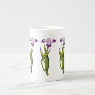 Purple Iris Botanical Bone China Mug