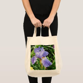 Purple Iris Botanical Tote Bag