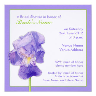 Purple Iris Bridal Shower Invitation