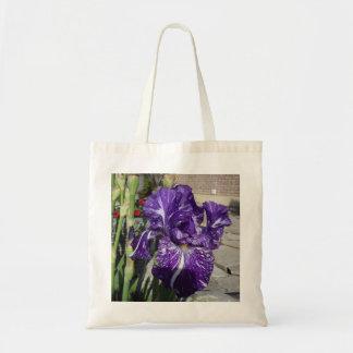 Purple iris budget tote bag
