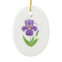 Purple Iris Ceramic Ornament