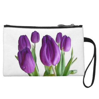 Purple iris clutch wristlets