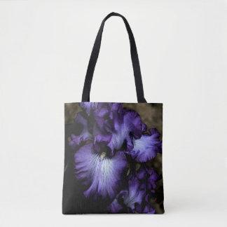 Purple Iris Cross Body Tote Bag