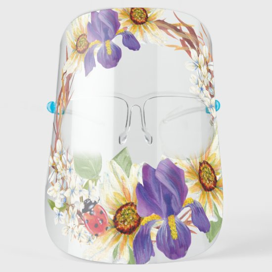 Purple Iris Daisies Ladybug Watercolor Floral Face Shield