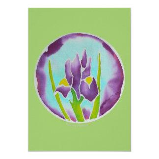 Purple Iris Flower Batik Art Card