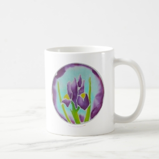 Purple Iris Flower Batik Art