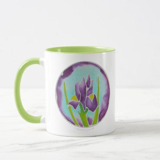 Purple Iris Flower Batik Art Green Ringer Mug