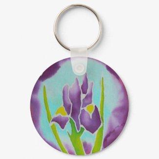 Purple Iris Flower Batik Art Keychain