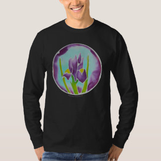 Purple Iris Flower Batik Art T-Shirt