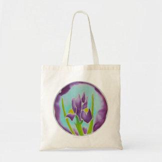 Purple Iris Flower Batik Art Tote Bag