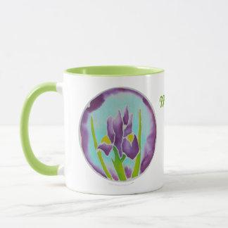 Purple Iris Flower Batik Personalized Name Mug