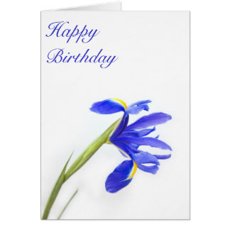 Purple Iris Flower Birthday Card