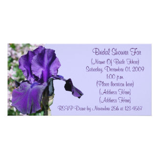 Purple Iris Flower Bridal Shower Invitation