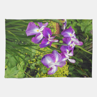 Purple iris flower garden hand towels