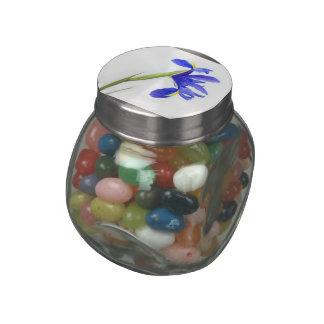 Purple Iris Flower Glass Candy Jar