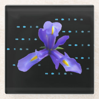 Purple Iris Flower Glass Coaster