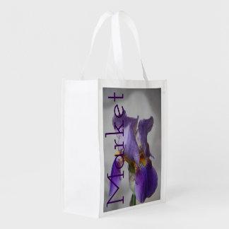 Purple Iris Flower Market Tote