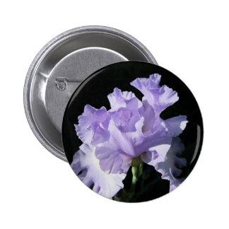 Purple Iris Flower On Black Background Pinback Button