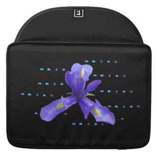Purple Iris Flower on Black Laptop Sleeve