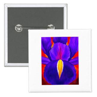 Purple Iris Flower Painting Art - Multi Pinback Button