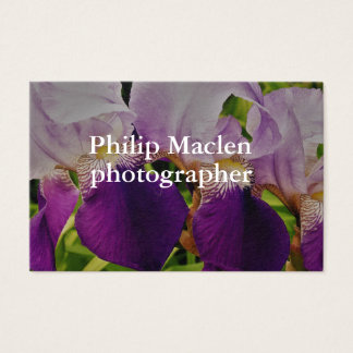 Purple Iris Flower Photo Standard Matte Business Card