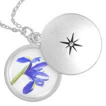 Purple Iris Flower Round Locket Necklace