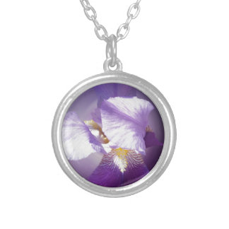 purple iris flower silver plated necklace