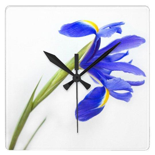 Purple Iris Flower Square Wall Clock