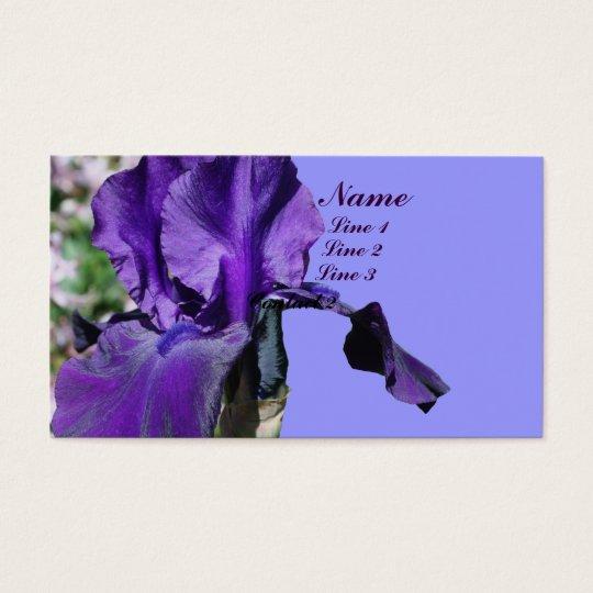 Purple Iris Flower Up Close Business Card