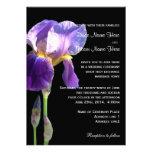 Purple iris flower wedding invitation invite