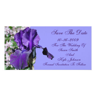 Purple Iris Flower Wedding Save The Date Card