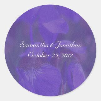 Purple Iris Flower Wedding Sticker