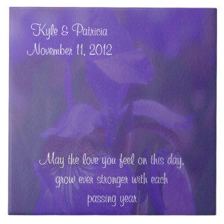Purple Iris Flower Wedding Tile