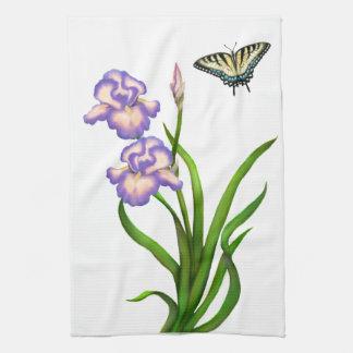 Purple Iris Flowers Kitchen Towel
