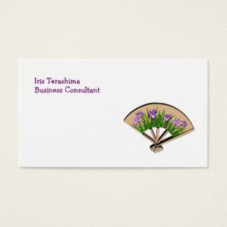 Purple Iris Flowers on Japanese Fan Design Business Card