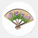 Purple Iris Flowers on Japanese Fan Design Classic Round Sticker