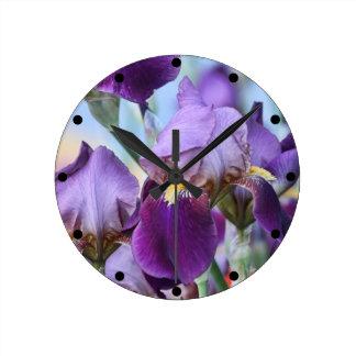 Purple Iris Flowers Round Clock