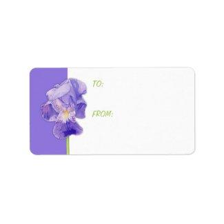 Purple Iris Gift Tag label