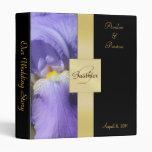 Purple Iris Gold Monogram Ribbon Binder