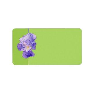 Purple Iris green Address Label label