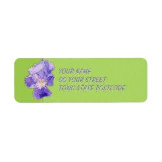 Purple Iris green Return Address Label label