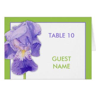 Purple Iris green Wedding Dinner Place Card