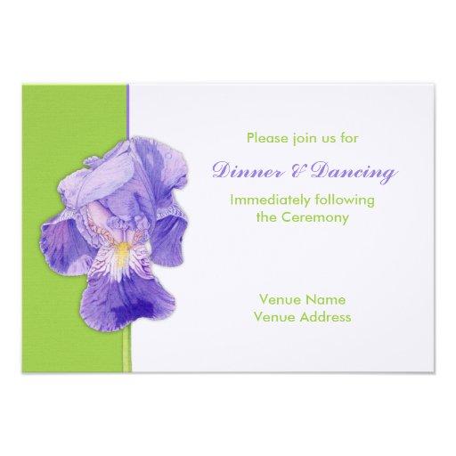 Purple Iris green Wedding Reception Card Personalized Announcements