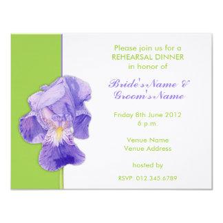 "Purple Iris green Wedding Rehearsal Dinner Card 4.25"" X 5.5"" Invitation Card"
