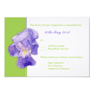 Purple Iris green Wedding RSVP Card